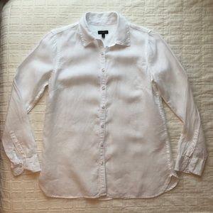Talbots White 100% Linen Button Down Shirt Size XS